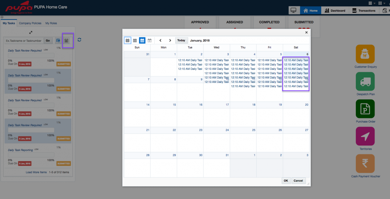 Calendar view for all your tasks