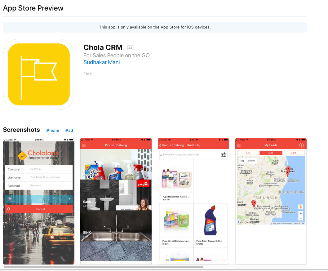 Chola CRM live on App Store