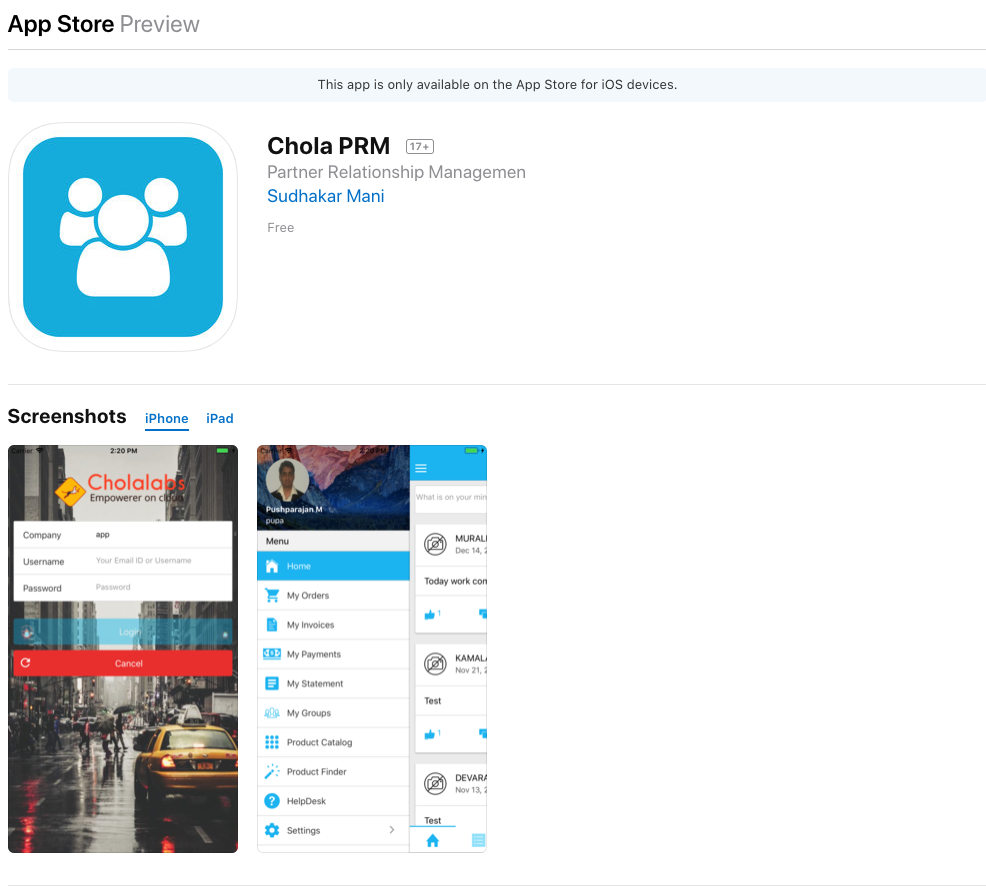 Chola PRM released in App Store